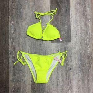 Victoria's Secret neon yellow bikini, size S.